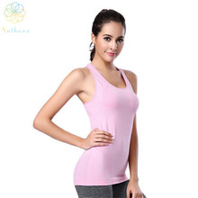 2016 Ladies Nylon Cami Cardio Sports activities Tank High Operating Yoga Health Camisoles Exercise Sleeveless Vest Stable Shade Activewear