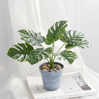 1pc artificial tortoise leaf plant potted green plant leaf with potted family desktop decoration artificial tree