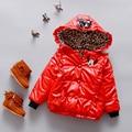 Embroma la chaqueta de invierno abrigo de Leopardo de la manga completa Con Capucha de Algodón Caliente del bebé niñas chaqueta Roja con capucha Chaqueta de Abrigo Para Niñas Niños