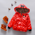 Winter Kids jacket Leopard full sleeve Hooded Cotton Warm baby coat girls jacket Red hoodie Outerwear Jacket For Girls Children