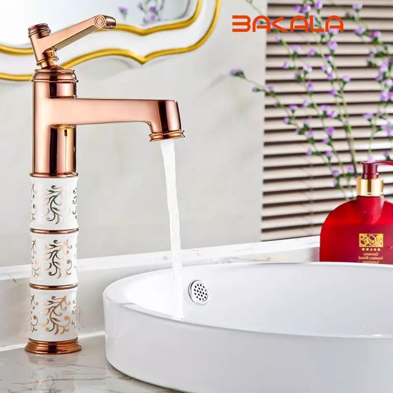 BAKALA Deck mounted brass and ceramic faucet Bathroom Basin faucet Mixer Tap Rose Gold Sink Faucet Bath Basin Sink Faucet B-1041 bakala new deck mounted brass and jade faucet bathroom basin faucet mixer tap gold sink faucet bath basin sink faucet b 1004m