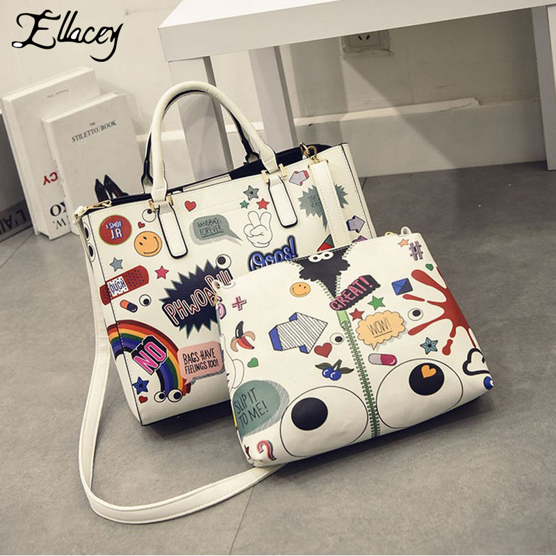 New Fashion Women Handbags Cartoon Printing Composite Bag Set Embossed PU Leather Bag Lovely Girls Totes Graffiti Shoulder Bag new 2016 simple fashion brand designers handbags women composite bag women crocodile pattern totes wallets