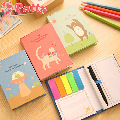 Hard cover sticky notes set Pastoral style rainbow Post adhesive paper stationery office material School supplies F711