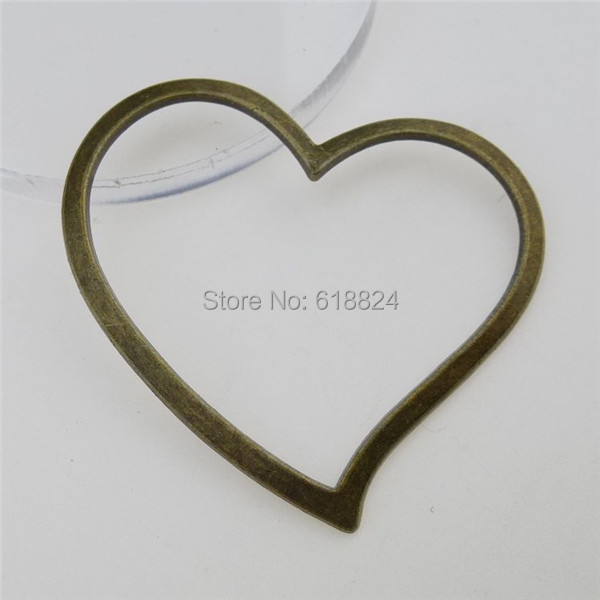 (35 pieces/lot) 12786 Antique Vintage Bronze Alloy Heart Pendant Jewelry Making Charms - jewelry style store