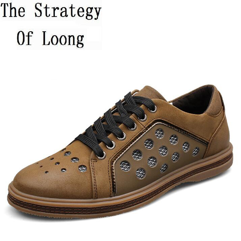Genuine Leather Men Shoe Summer Fashion Comfortable Breather Man Sneakers Casual Cut Out Men Shoes Plus Size 45 46 47 48 16111 genuine leather men casual shoes plus size comfortable flats shoes fashion walking men shoes
