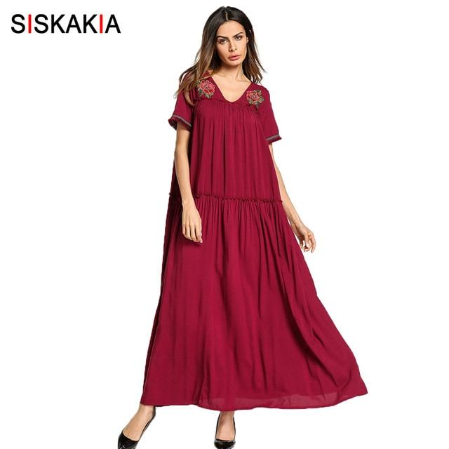 38cbde8bbe Siskakia Rose Haftowane draped projekt Maxi długa Sukienka lato 2018 Moda  Euro i American miejskich dorywczo
