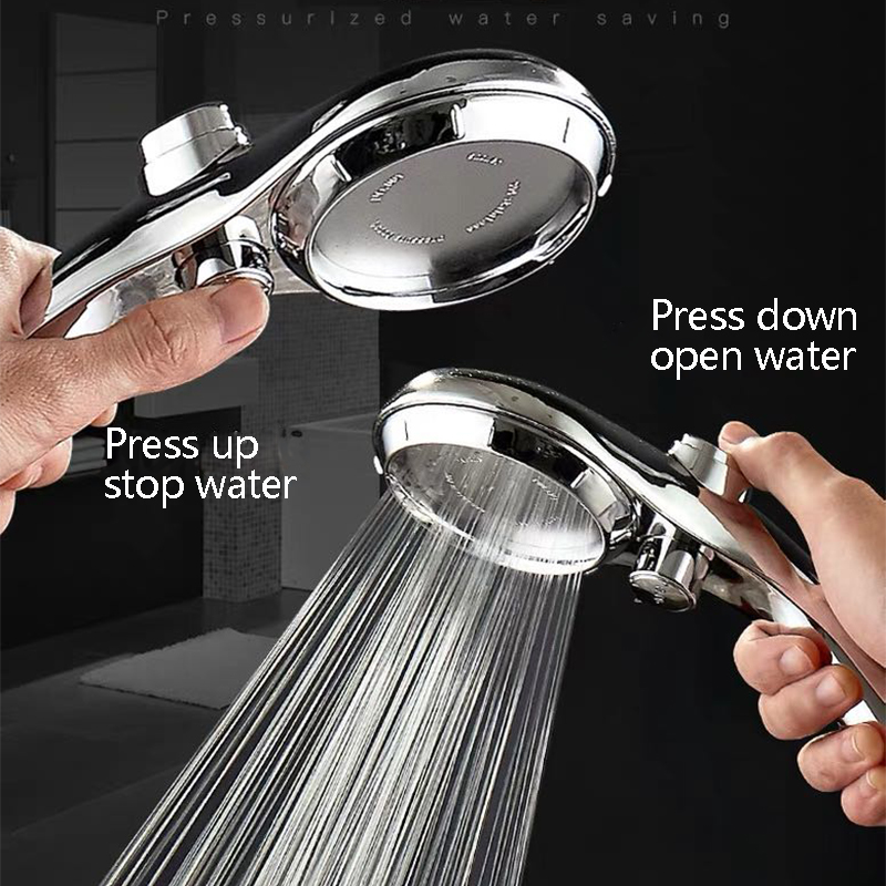 ZhangJi 95mm Large Panel Handhold Shower head Shower Spray Nozzle Water Saving High Pressure Stepless Adjustable Stop Button