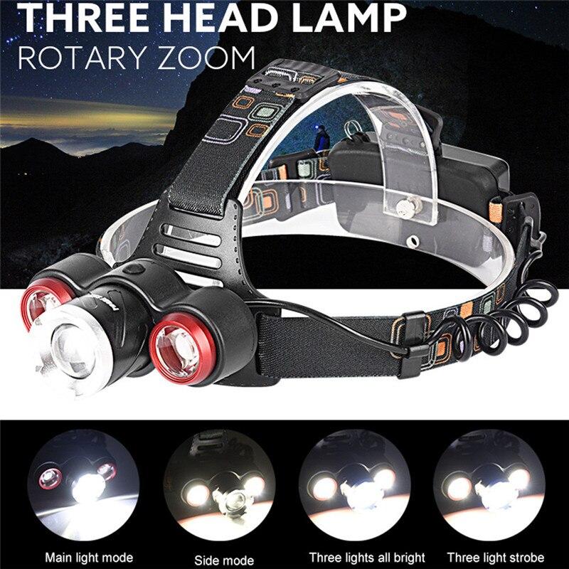 B2 Headlamp 8500Lm XML T6+2R5 3 LED Rechargeable 18650 Headlamp Head Light Torch Adjustable Base Wholesales&Retails