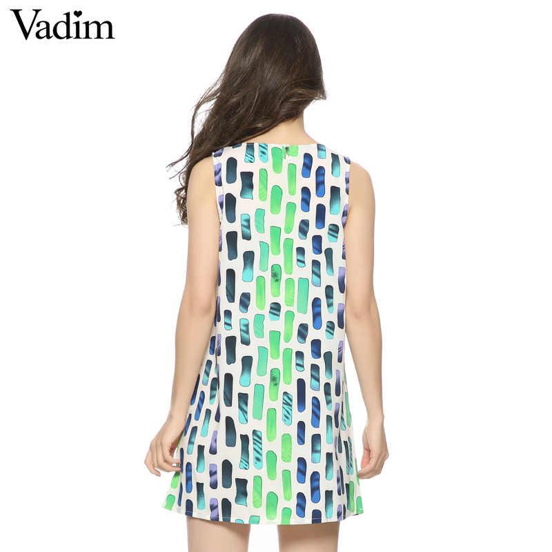 Вадим Модные женские элегантные пикантные с принтом мини-платье в винтажном стиле без рукавов повседневные, тонкие, брендовые платье QZ1967