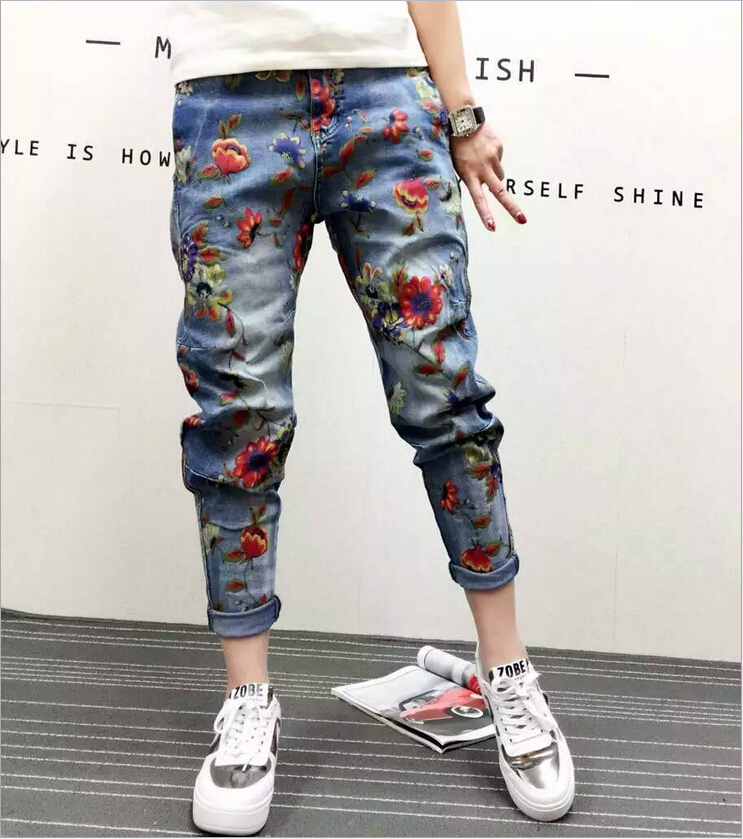 Pantalones De Mujer 2016 European style Ladies Cotton Denim Pants Personality Dimensional Flowers Printing Loose Trousers