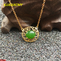 KJJEAXCMY boutique jewels 925 silver Natural green jade pendant necklace send female jewelry