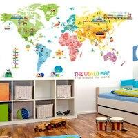 Мультфильм животных географические карты украшения дома виниловые наклейки на стену DIY 95*195 см мира детская комната плакат