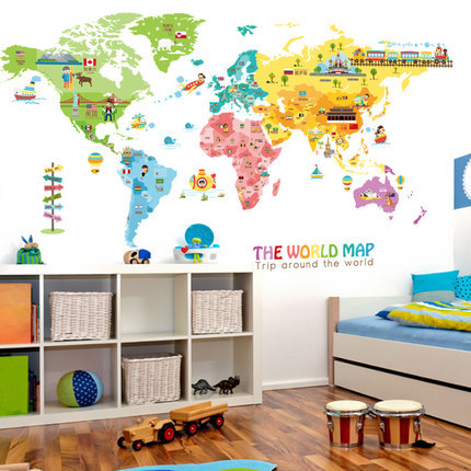 Cartoon Animal Map Home Decoration Vinyl Wall Stickers DIY 95*195CM World  Map Kids Room