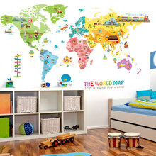 Pegatinas de vinilo estéticas para decoración de habitación de niños, de animales con pegatinas de pared mapa del mundo, decoración de pared autoadhesiva, póster artístico para habitación de niños