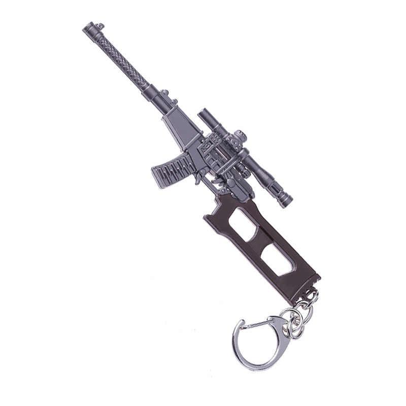 Juego de llaveros PUBG PLAYERUNKNOWN'S llavero de campo de batalla Cosplay disfraz akm 98 k modelo de arma casco llavero para