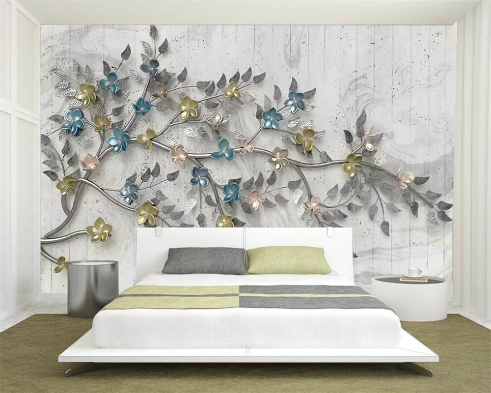 Beibehang Custom Photo Wall Mural 3d Wallpaper Luxury: Beibehang Custom Photo Wallpaper Flowers Tree Mural