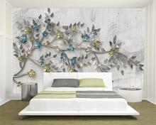 купить Beibehang Custom Photo Wallpaper flowers tree Mural Wallpaper For Living Room Bedroom Background wall 3D wallpaper papier peint по цене 584.08 рублей