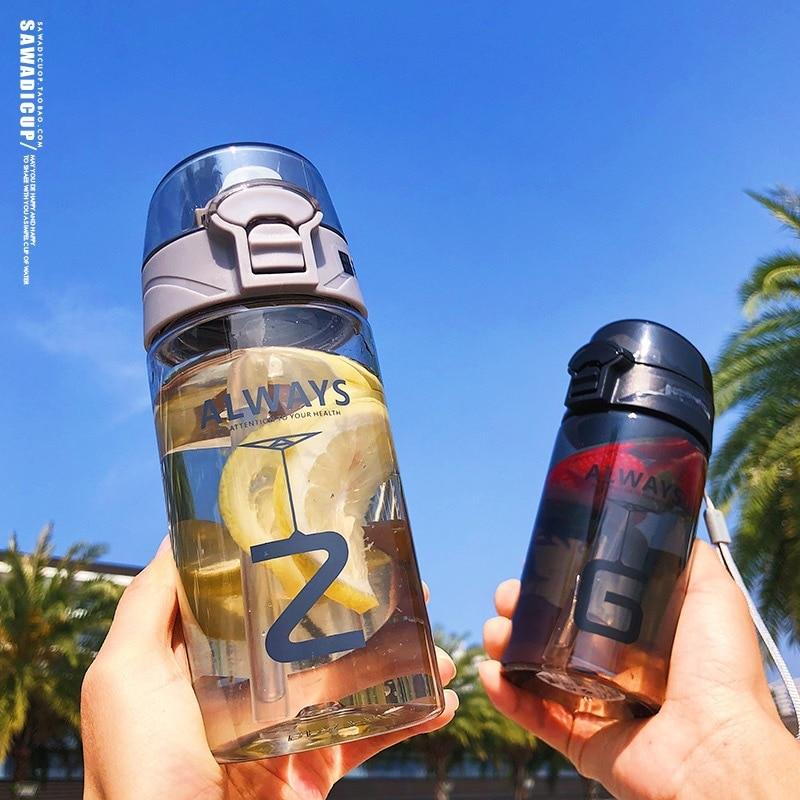 2019 Summer Cool Water Bottles Outdoor Portable Leakproof Plastic Straw Bottles BPA Free Student Women Jumped Cups Drinkware