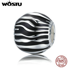 WOSTU 925 Sterling Silver Fleeting Time Black & White Enamel Beads fit original WST Charm Bracelets Jewelry Gift CQC295