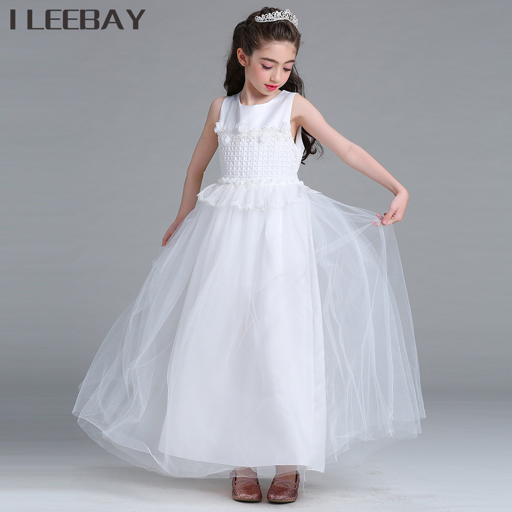 Elegant Kids Girl Evening Long Dress Flower Girl Wedding Dresses Toddler Party Princess Clothes Teenager Floral Lace Bow Costume girls dress 2017 new summer flower kids party dresses for wedding children s princess girl evening prom toddler beading clothes