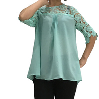 Lace Patched Chiffon Blouse For Women Half Sleeved Green Color Lady S Chiffon Tops Plus Size