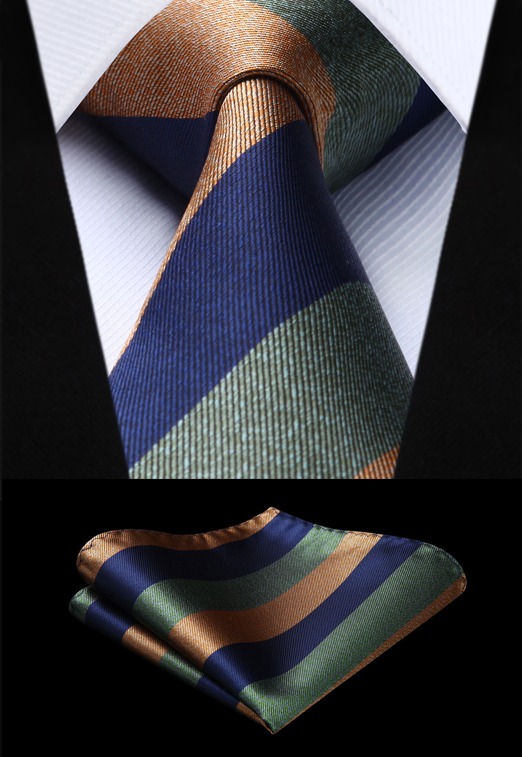 Mens Tie Set Silk Woven Green Striped Necktie Pocket Square Cufflinks Wedding