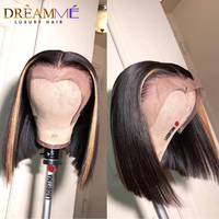 Ombre Straight 13X6 Lace Front Short Human Hair Wigs Pre Plucked 27# Honey Blonde Highlight With Natural Color Blunt Cut Bob Wig