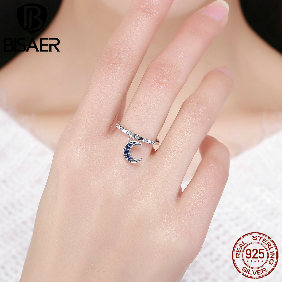100% 925 Sterling Silver Blue CZ, Lovely Monday Moon Good Night ...