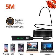 HD1080P 2MP 8LED Android Mobile iPhone WIFI USB Endoscope Camera 5M Snake Semi-rigid USB Endoscope Wilress Inspection Borescope
