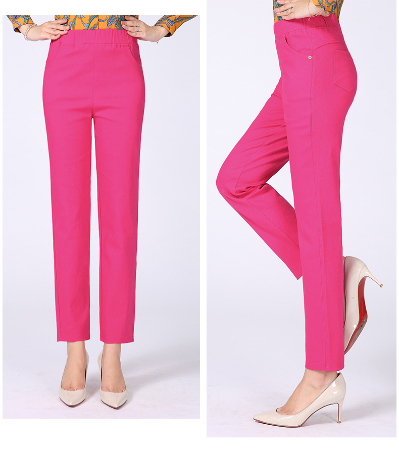 Women Casual Pants Plain Color Basic Trousers Spring Autumn Pantalones Mujer High Elastic Band Waist Pant Red White Gray Black (25)