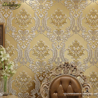 beibehang Luxury Classic Wall Paper Home Decor Background Wall Damask Wallpaper Golden Floral Wallcovering 3D velvet Living Room