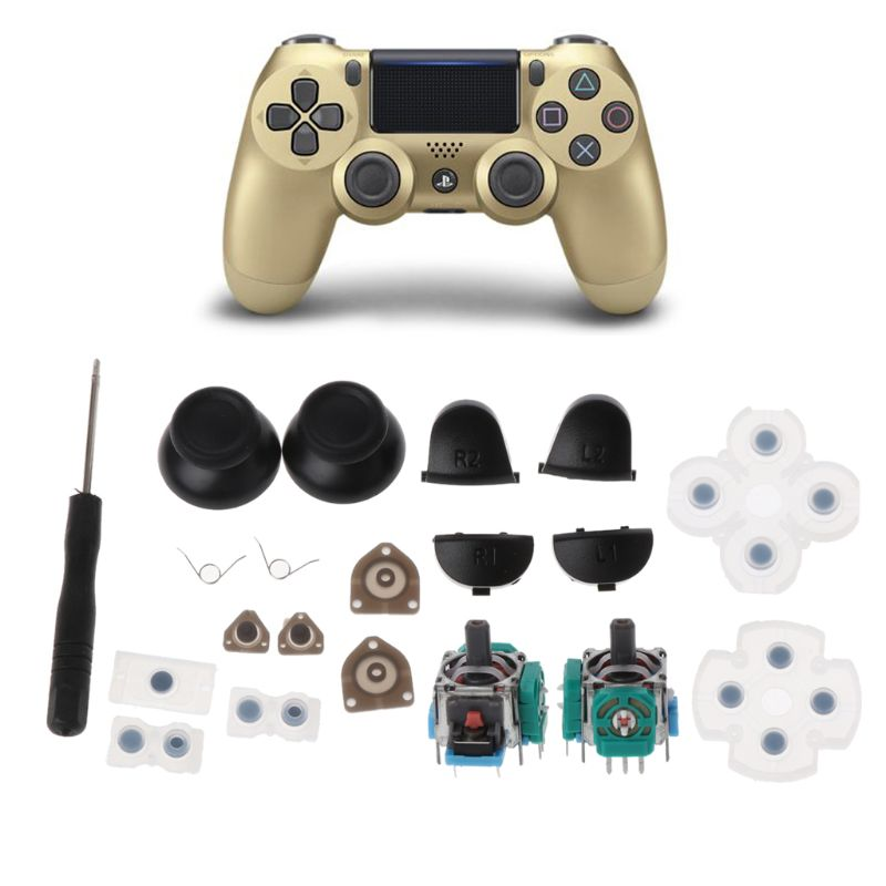 L1 R1 L2 R2 Trigger Buttons 3D Analog Joysticks Thumb Sticks Cap Conductive Rubber For PS4 Controller Repair Set