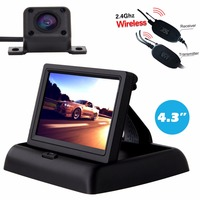 Buyee Wireless 4 LED Vehicle cam auto Rear View Camera Waterproof + 4.3 inch TFT LCD Car Rearview display Monitor with camera