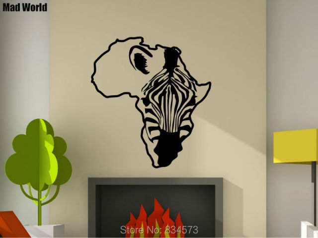 mad world zebra african animal africa map horse wall art stickers wall decal home diy