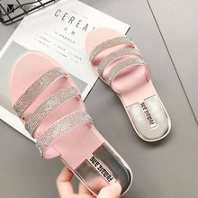 three narrow band flip flops women shiny crystal belt sandals sweet pink summer shoes glitter gladiator sandalias slippers c368(China)