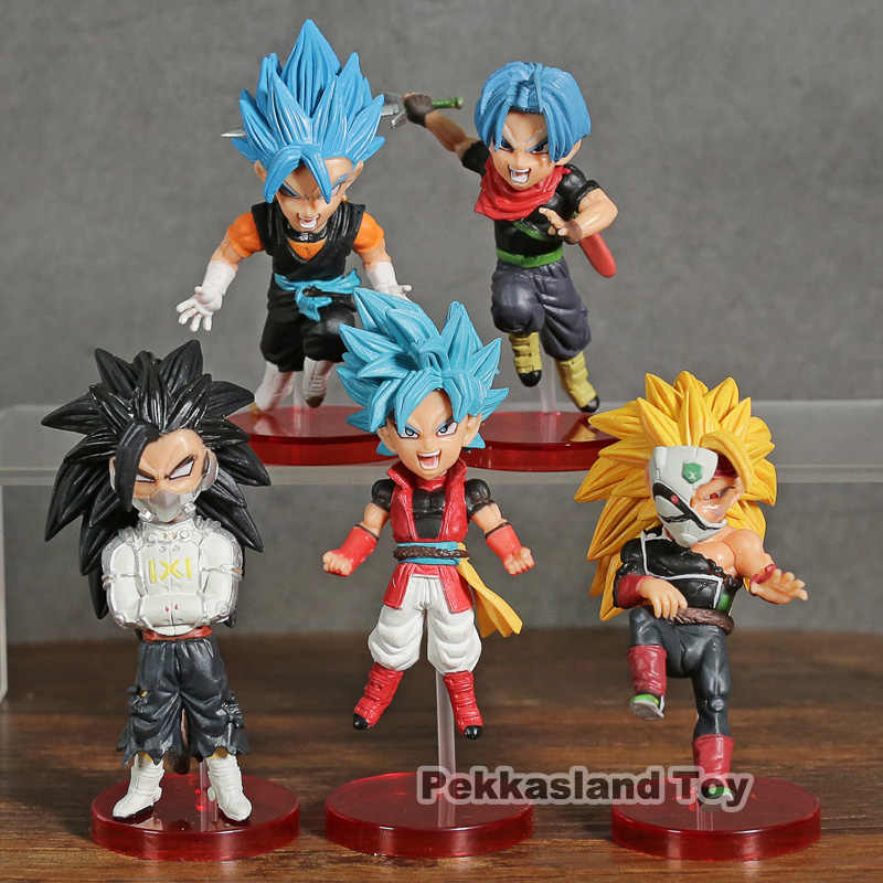 5 pcs Set Super Heróis Vol.4 Mundial Collectible Figura Super Saiyan Dragon Ball Son Goku Vegetto Troncos Azul Barduck Broly