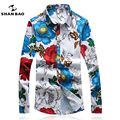 SHANBAO Camisa Floral Fino Moda Casual Camisa dos homens Plus Size M ~ 5XL Negócio Marca Masculina Primavera Longo-Impresso mangas compridas Camisa branca