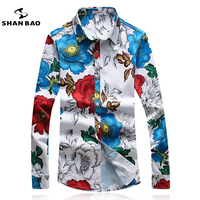 SHANBAO Men S Floral Shirt Slim Fashion Casual Shirt Plus Size M 5XL Business Brand Male