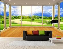 Custom 3D wallpaper for walls 3 d wall murals country grassland scenery TV setting wall balcony window wallpaper for living room(China)