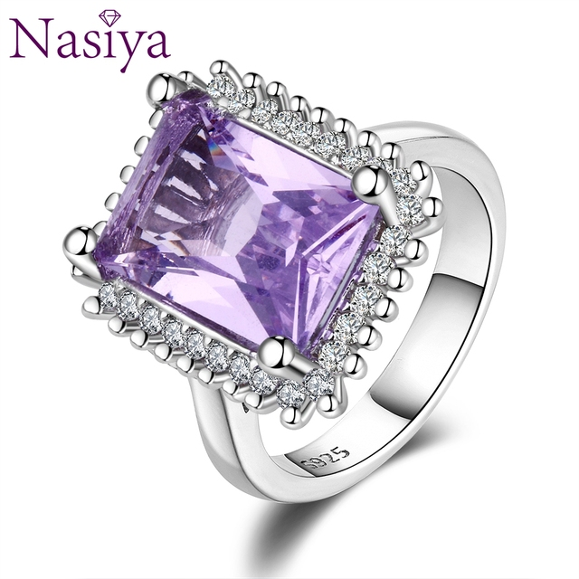 Nasiya Fashion Luxury High Quality Purple Zircon Rings For Women 925 Silver Jewelry With Stones Party Anniversary Birthday Gift