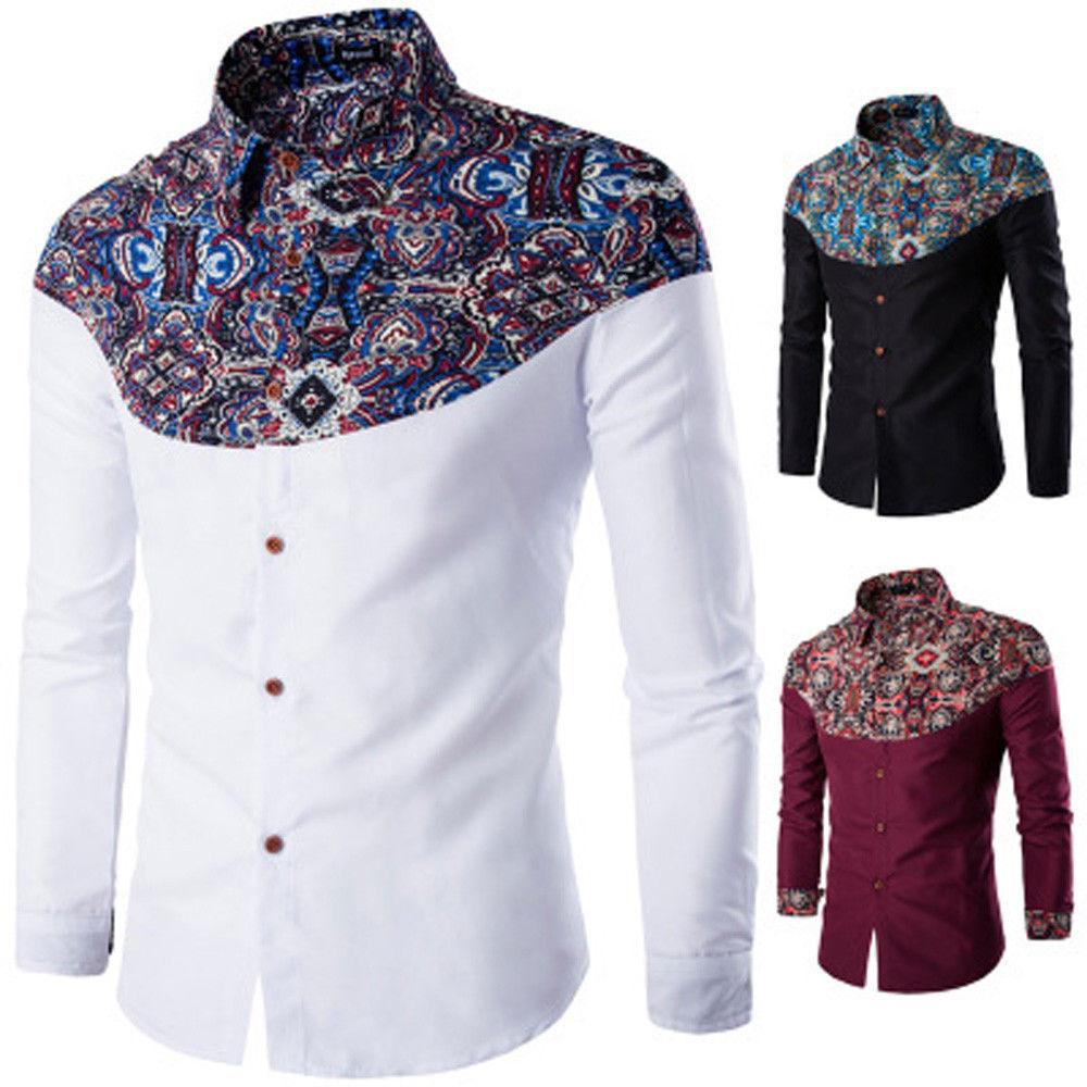 Stylish Men Casual T Shirts Printed Long Sleeve Slim Fit Cotton Dress Shirt Tops Casual Shirts    - AliExpress