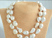 fast 20mm WHITE BAROQUE KESHI REBORN PEARL NECKLACE 35inch (Z6584) NEW