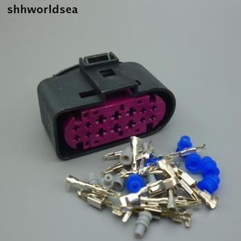 shhworldsea  50Sets 14 Pin Car Headlight Xenon Lamp Plug Connector Auto xenon headlights socket 1J0973737 For VW Golf MK6 Skoda