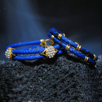 A Set Fashion Two Layer Blue Stingray Leather White Zircon Bracelet Gold Stainless Steel Clasp Bracelet Bangle for Party Gift