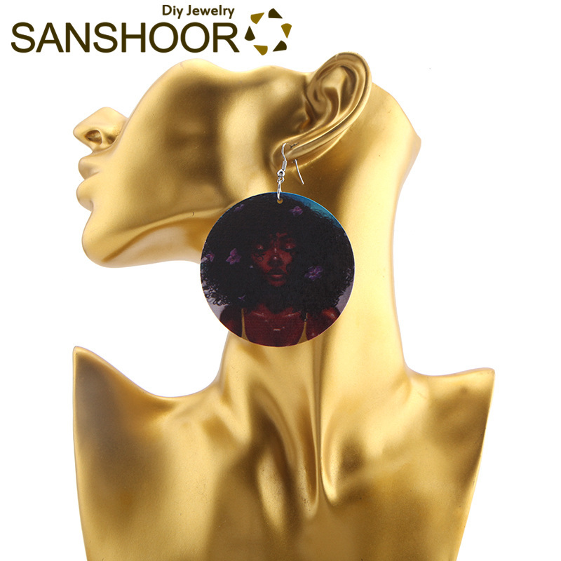 SANSHOOR 6cm Afro Wooden Earring Black Girl Natural Hair African Fashion Jewelry Wood Dangler Gift For Africa Female 1 Pair