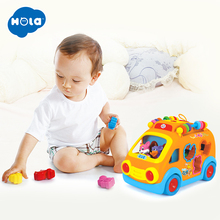 Free Shipping Huile Toys 988 happy bus child puzzle electric toy car band music blocks baby toys huile toys 82721 baby toys infant crawl beetle electric toy bee ladybug with music
