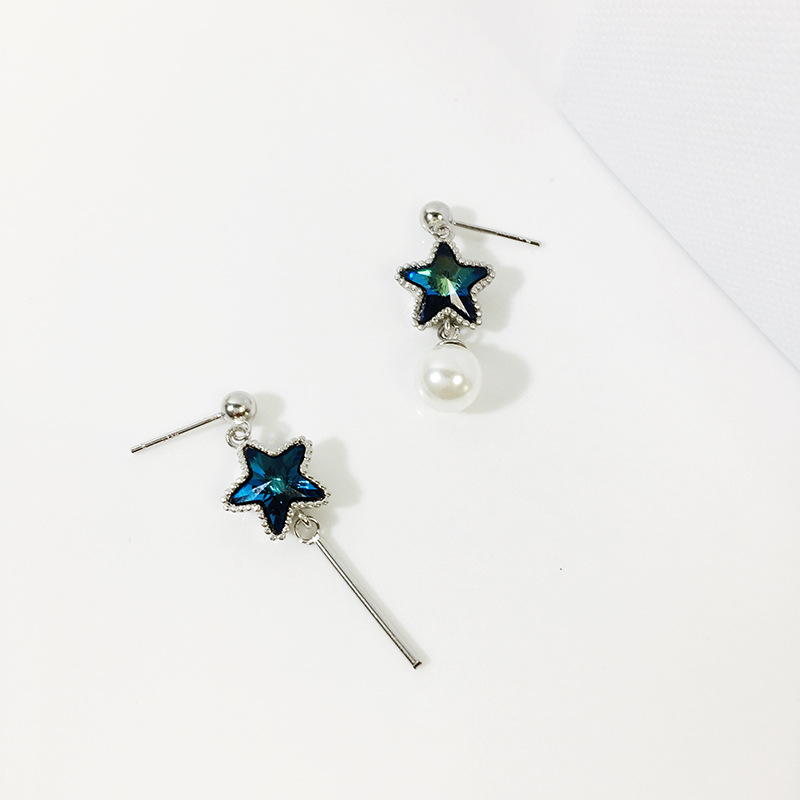 2019 new 925 silver asymmetric pearl and blue five pointed star crystal earrings for fashion women gifts on free shipping in Stud Earrings from Jewelry Accessories
