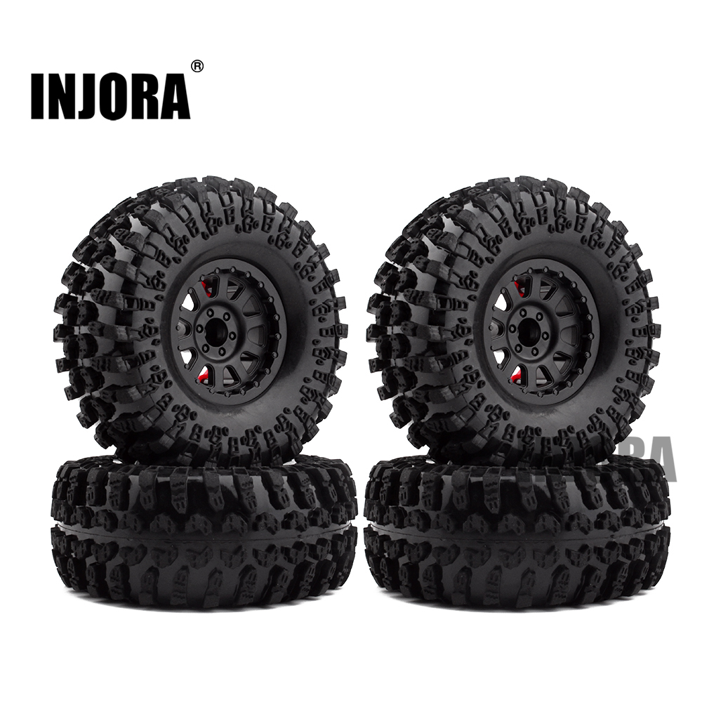 4PCS 2.2 Inch Rubber Tyres & Plastic Beadlock Wheel Rim for 1:10 RC Rock Crawler Axial SCX10 RR10 Wraith Yeti RC Car 4pcs thicker 2 2 inch rc 1 10 crawler alloy wheels rim beadlock wheel rims hub for 1 10 rc scx10 wraith 90018 rock crawler