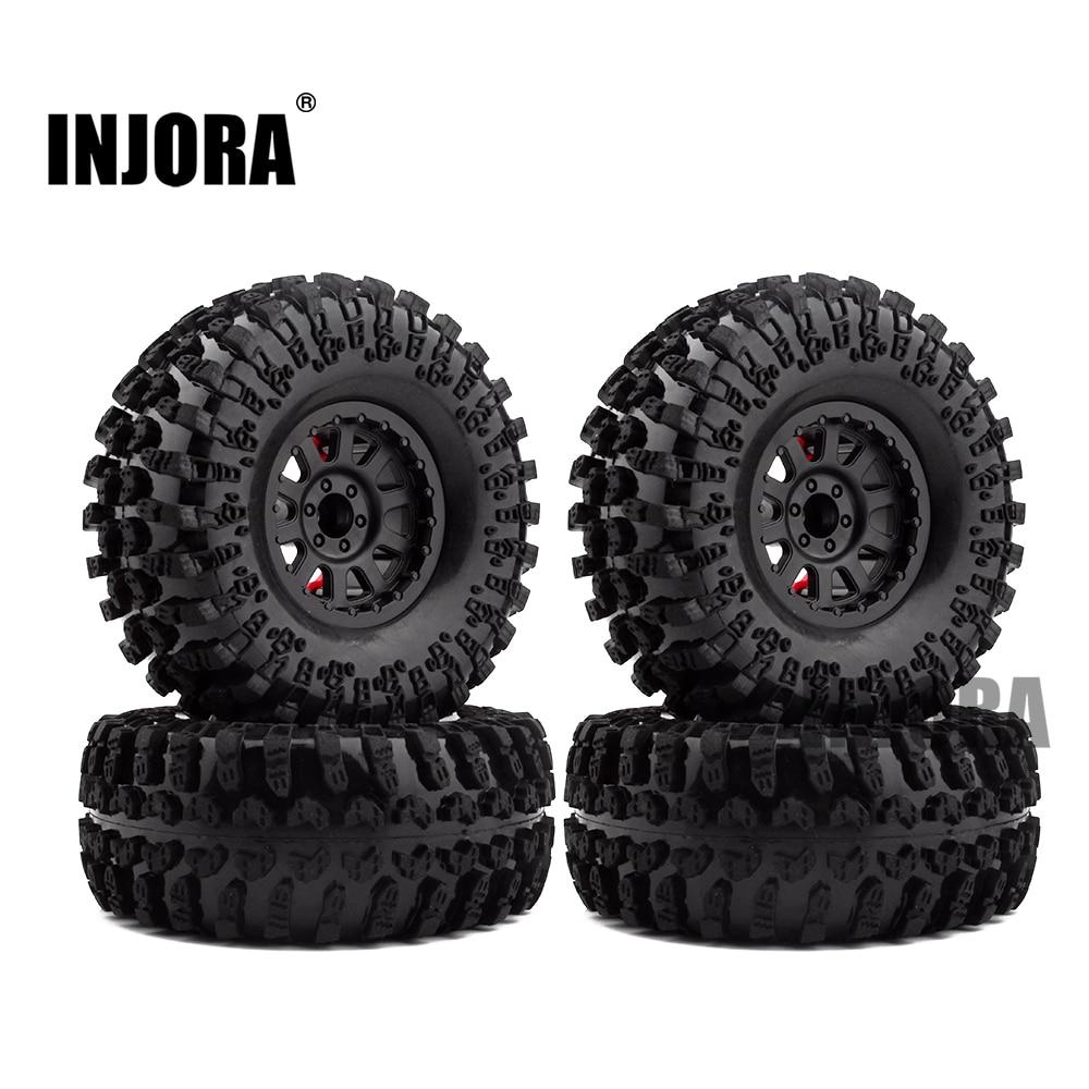 4PCS 2.2 Inch Rubber Tyres & Plastic Beadlock Wheel Rim for 1:10 RC Rock Crawler Axial SCX10 RR10 Wraith Yeti RC Car(China)