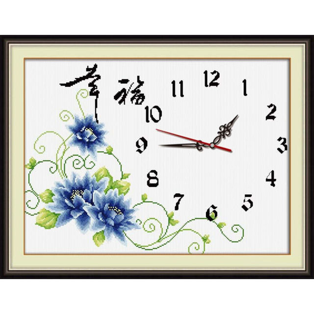 Blue Flower Cross Stitch Kit 11ct Count Print Canvas Wall Clock Stitching  Embroidery DIY Handmade Needlework